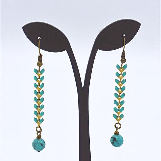 Herringbone drop earring