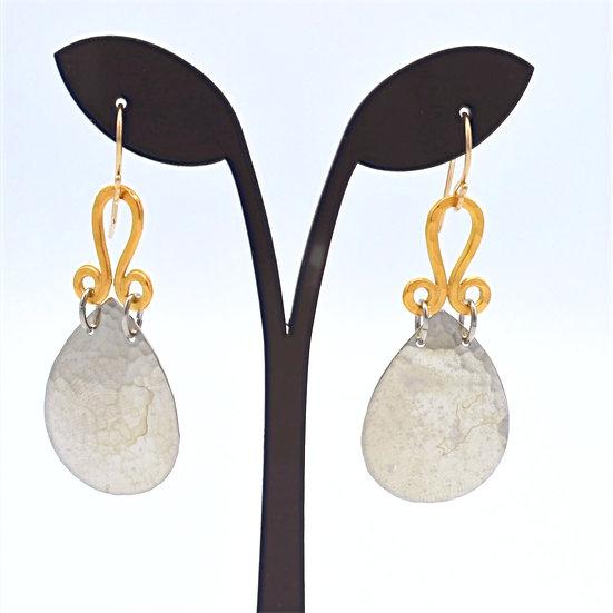 Evelyn Knight gold horseshoe silver teardrop earrings