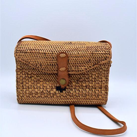 Woven fishing basket crossbody