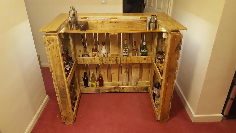 Rustic home pallet bar.