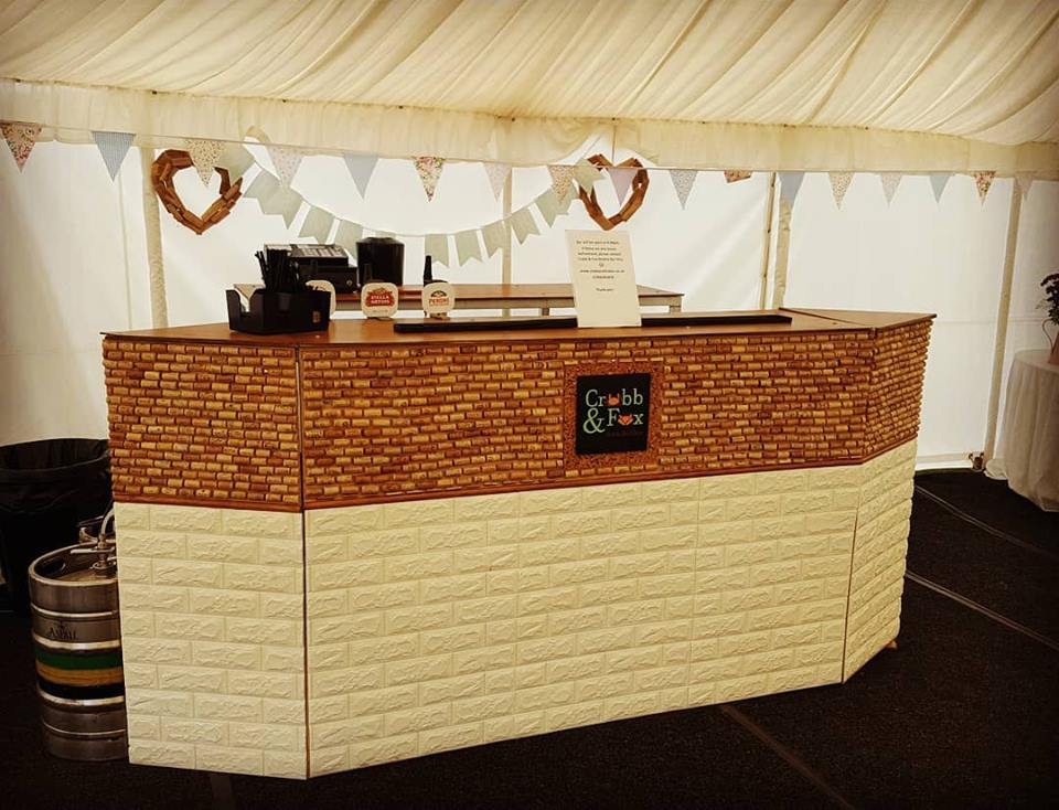 cork bar in marquee
