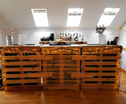 pallet bar with fairy lights