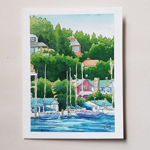 Mackinac Harbor Greeting Card
