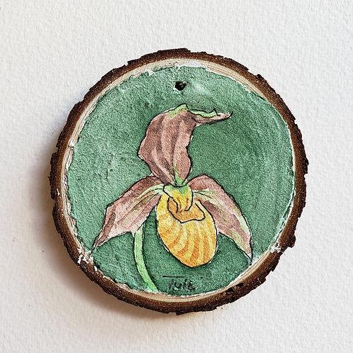 Yellow Lady Slipper Ornament