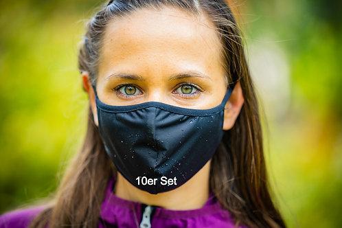 10er Set Mundschutzmaske schwarz hydrophob 100% wiederverwendbar