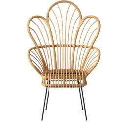 Rattan Fan Back Accent Chair