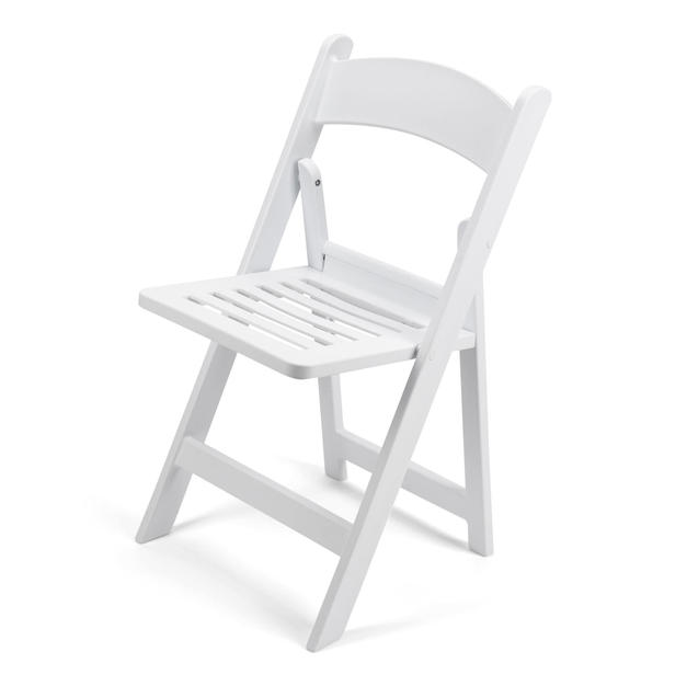 Garden Chair White Slatted Seat