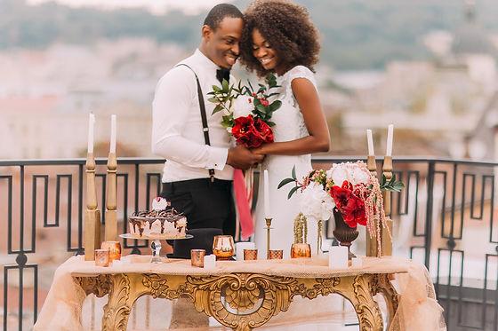 Charming black wedding couple holding ha