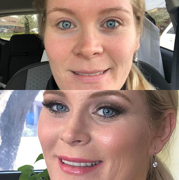 Bridal makeup tryout.  Top photo is befo