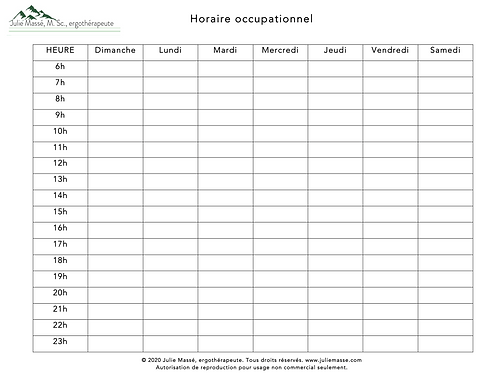 Outils : Horaire Occupationnel