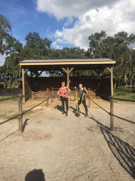 Becky and Rachel working on the farm
