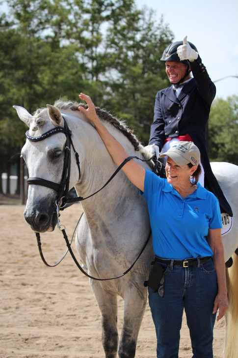 Jill riding Harry with owner Mary Pat