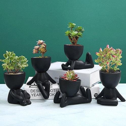 Nordic Creative Ceramics Little People, Body Art Flower Pot Desktop