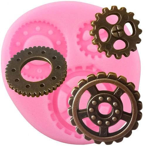 Industrial Steampunk Gears Silicone Clay Molds Decorating Tools