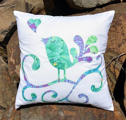my singing love bird cushion