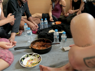 Eating together- Rare moments of freedom on Lesvos.
