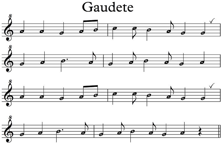 Gaudete recorders 2020 - Descant letters