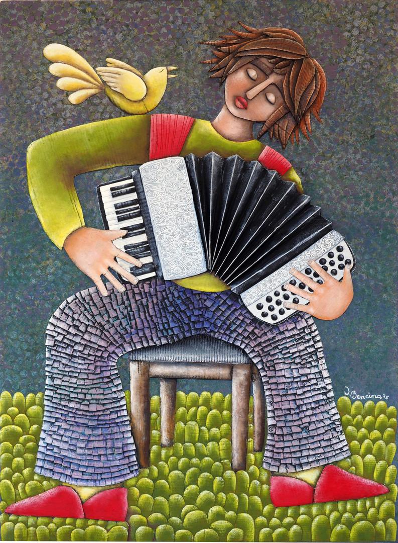 Tarantella d'amore. Collage carton,acrylique, pastel sur bois, 50X65, 2016.
