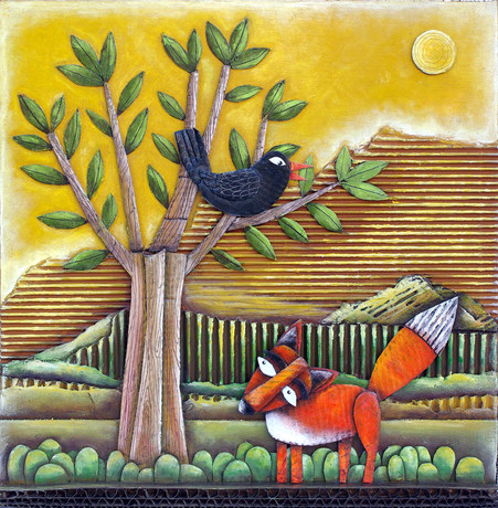 Il corvo e la volpe, 30X30 cm, collage carton, acrylique et pastels sur bois, 2017.