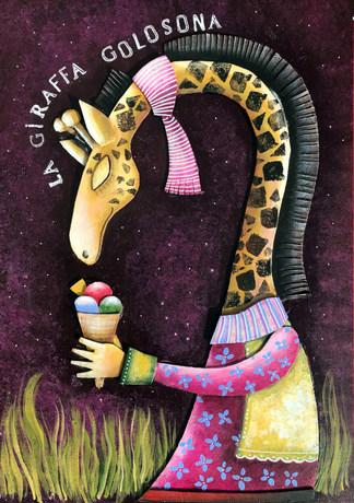 La giraffa golosona, 20X30 cm, collage carton, acrylique sur carton, 2018.