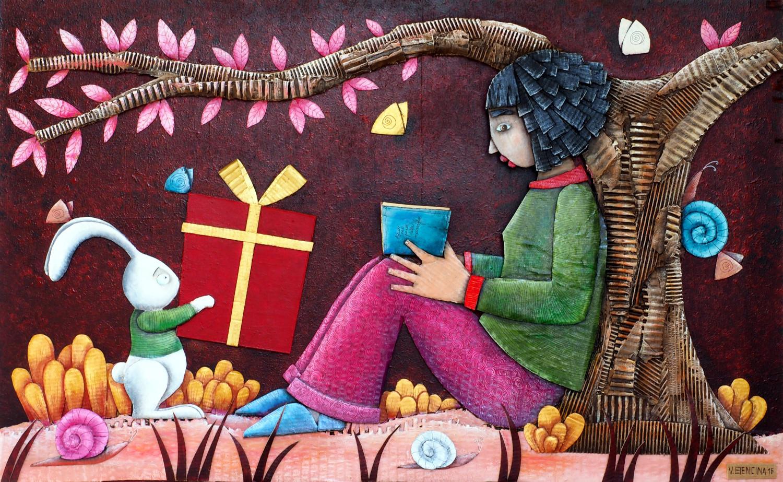 Alice nel paese delle meraviglie, 40X70, collage carton, acrylique, pastel sur bois, 2016.