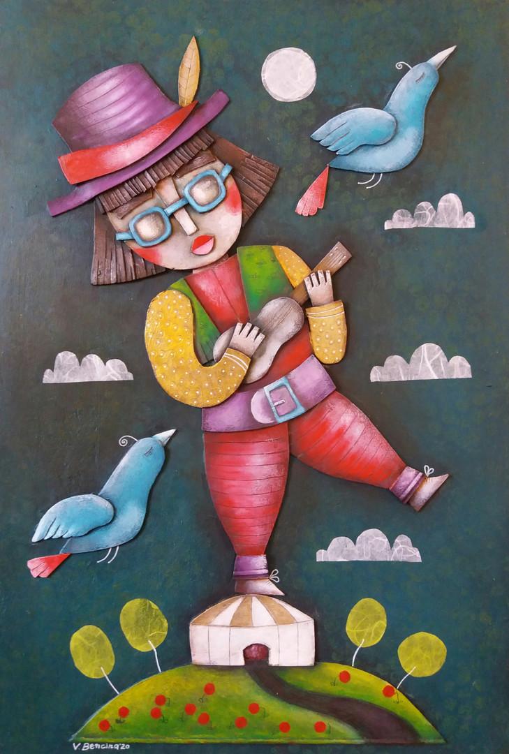 Kokopelli, 35X50 cm, collage carton, acrylique,, pastels sur bois, 2020.