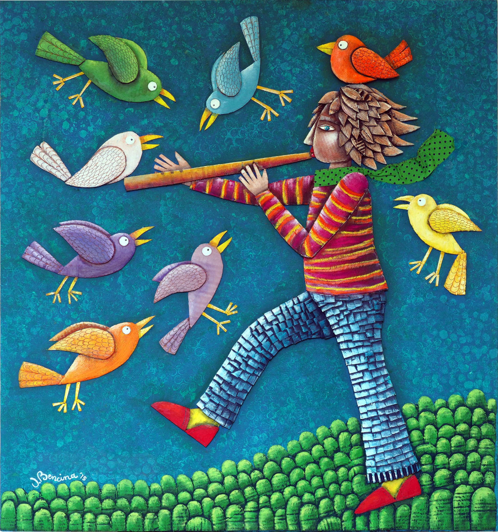 Il pifferaio magico. Collage carton, acrylique, pastels sur bois, 60X60 cm, 2016.