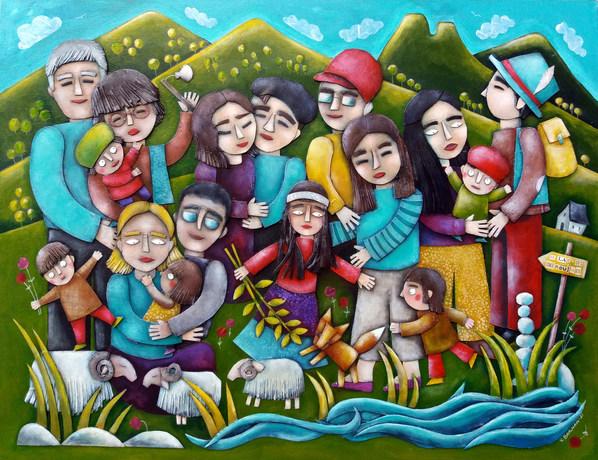 Le lac des grenulles 80X60 cm collage carton acryliques sur bois, 2021
