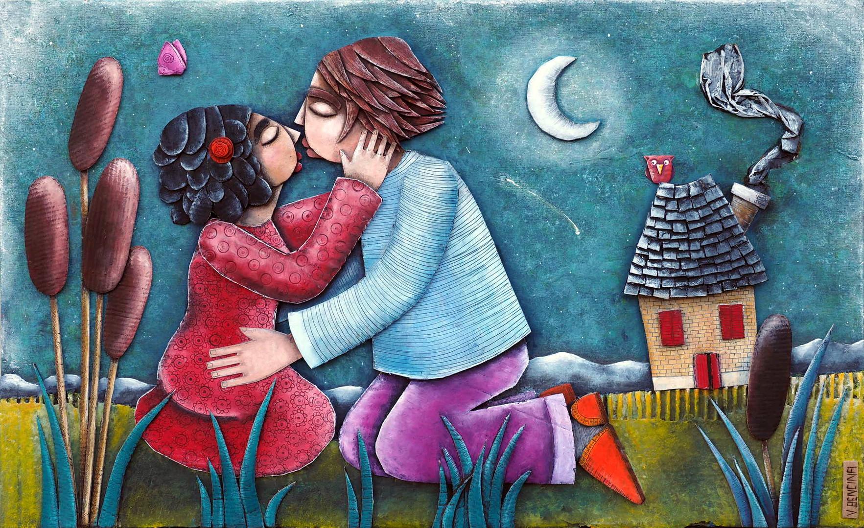 Love, 2016, collage carton, pastel, acrylique sur bois.