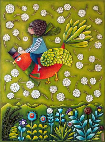 Il mio sogno, 60X80 cm, collage carton, acrylique, pastels sur bois, 2018.