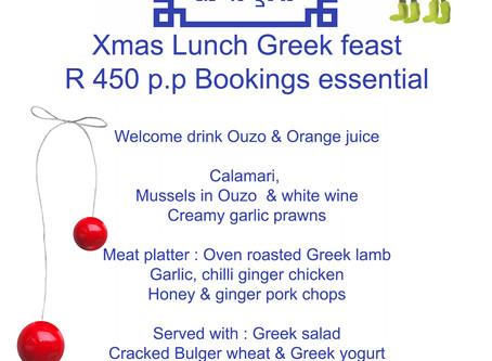 Xmas Greek Feast Tel 0844 55 55 88