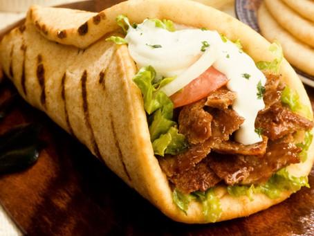 Souvlaki in Pita ( Beef kebab)