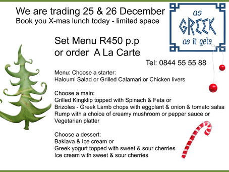 We are open - X-mas lunch & Boxing day