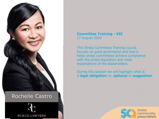Rochelle Castro is one of the presenters in the Strata Community Association Committee Training.