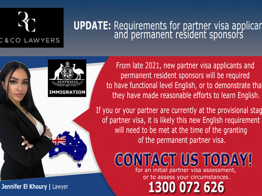 Update on requirements for partner visa applicants and permanent resident sponsors