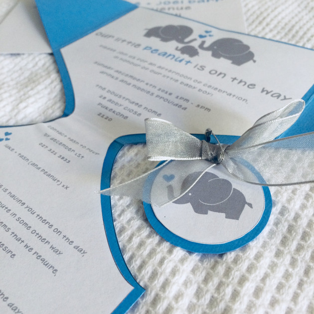 invitations for a boys baby shower evoking a playful baby elephant theme.   graphic designer. jessica barr