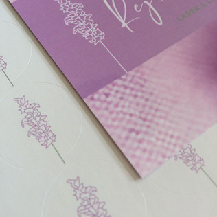 brand design and stationery for a hair removal and skin rejuvenation clinic, offering a refreshingly soft aesthetic.    printing. laserfoil graphic designer. jessica barr