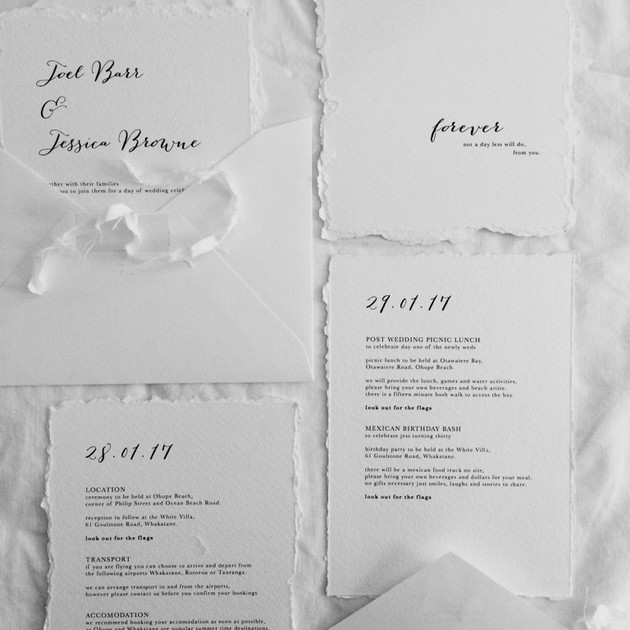 invitation stationery for a bohemian themed wedding evoking a relaxed yet formal aesthetic.    graphic designer. jessica barr