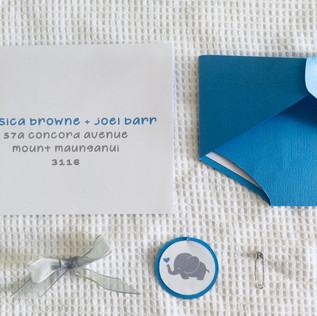 invitationsfor a boysbaby shower evoking a playful baby elephant theme.   graphic designer. jessica barr