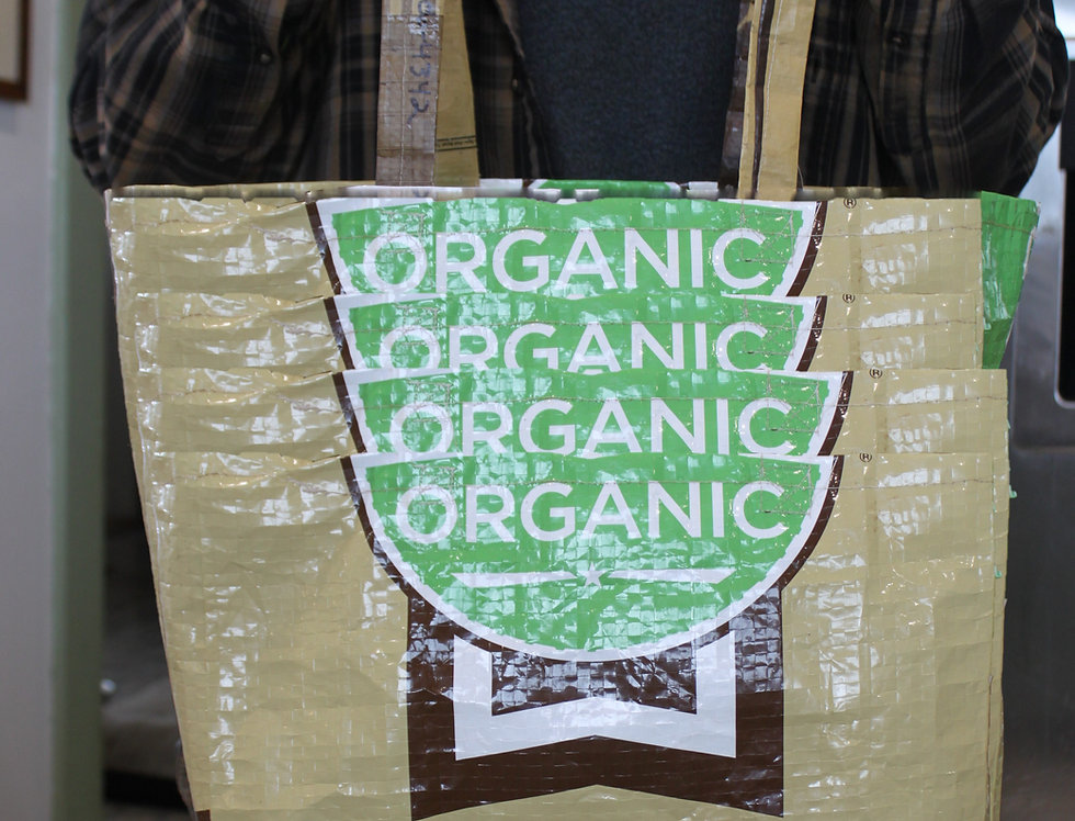 Farm made feed bag shopping tote