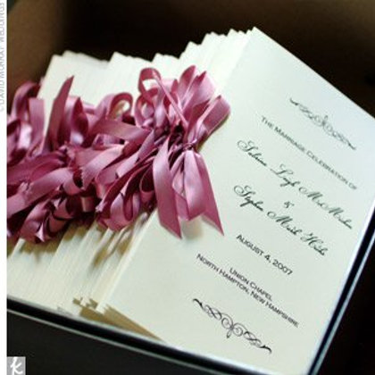 Matte Ceremony Programs with Bow (Set of 25)