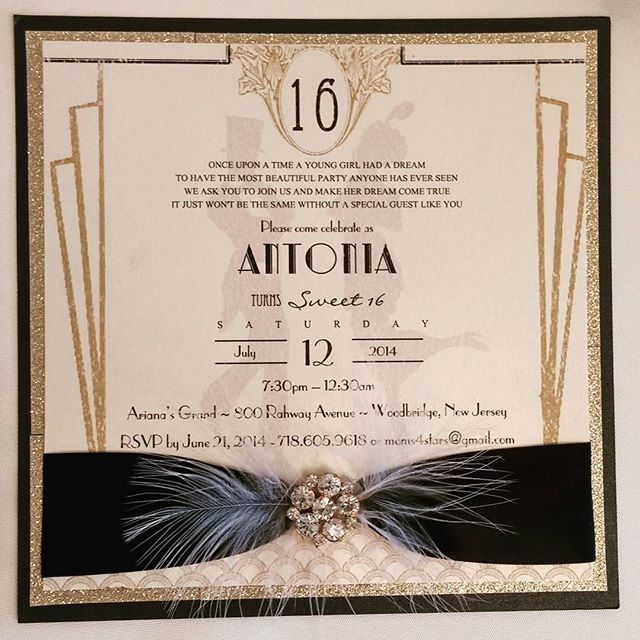 #gatsby theme #sweetsixteen #invitation #feathers #bling #theseptemberrose