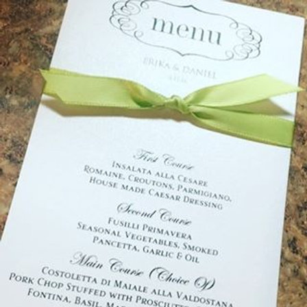 Menu Matte Paper with bow (Set of 25)