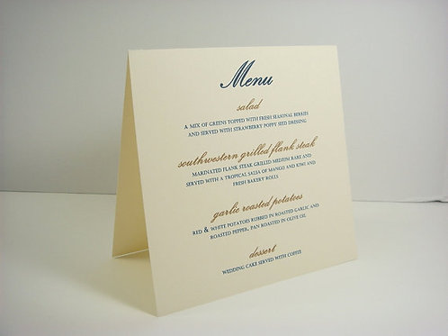 Free Standing Menu Metallic Paper (Set of 10)