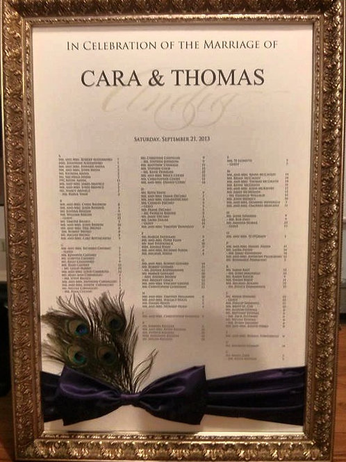 Seating Chart with Sash, Bow  & Feathers