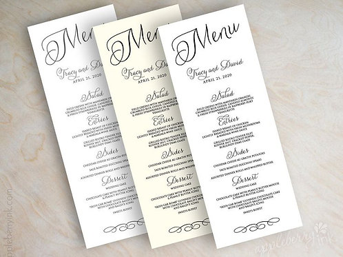 Menu Matte Paper (Set of 25)