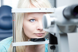 optometry concept - pretty young woman h