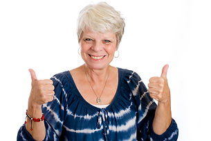 Happy, mature, white haired woman with t