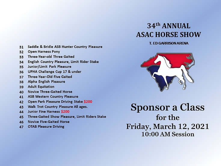 ASAC- Sponsor a Class for the Friday AM Session