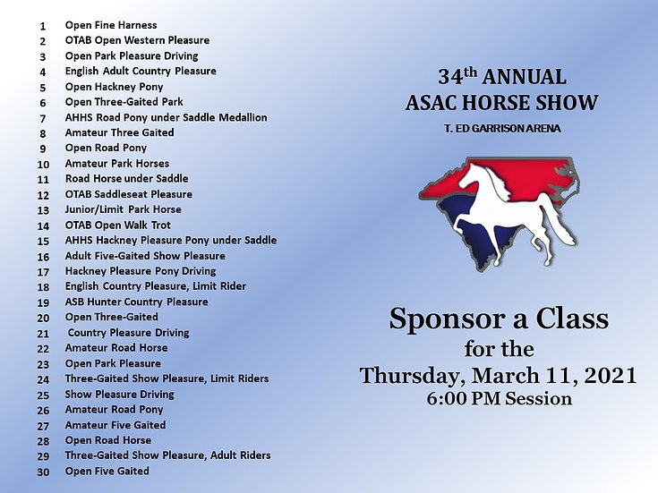 ASAC- Sponsor a Class for the Thursday PM Session